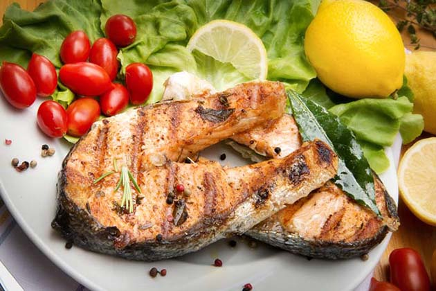 Fish And Seafood Grilled Salmon With Geoged Foreman