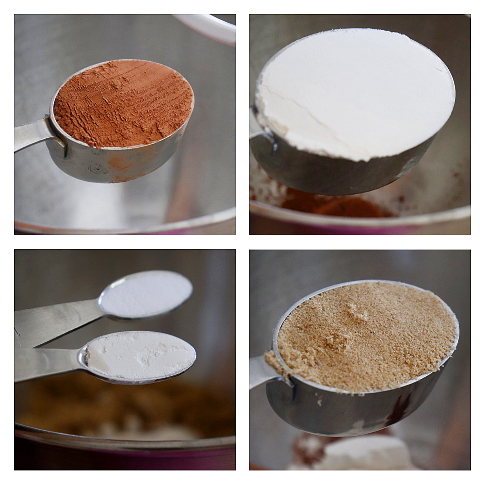 Dry Ingredients Collage for Glazed Chocolate Doughnut Muffins