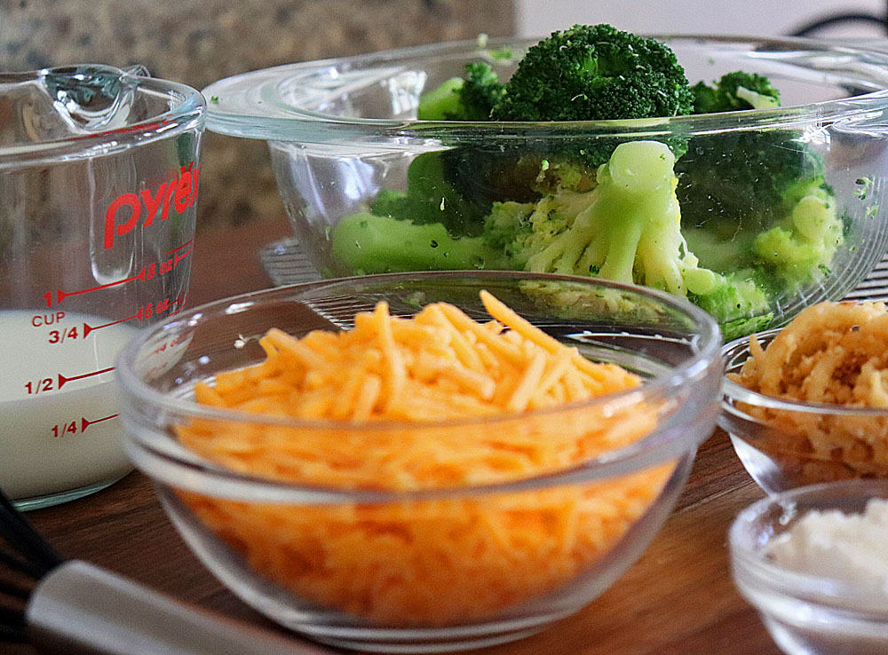 Ingredients for Broccoli Cheddar Stuffed Baked Potatoes