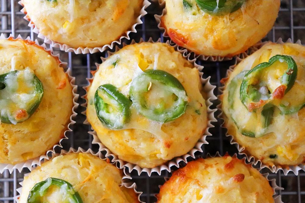 Baked Cheesy Honey Jalapeno Cornbread Muffins