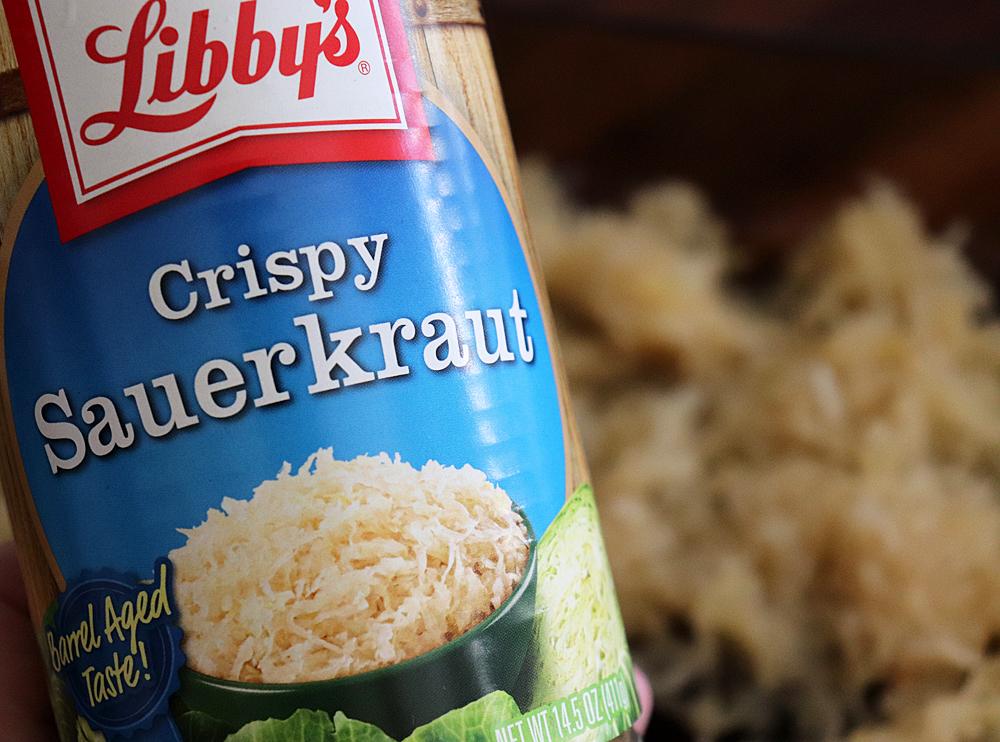 Adding the sauerkraut