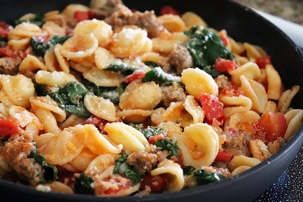 Pan shot of Orecchiette with Sausage and Greens