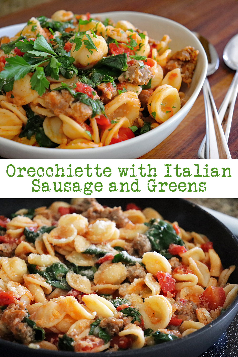 PIN for Orecchiette with Sausage and Greens