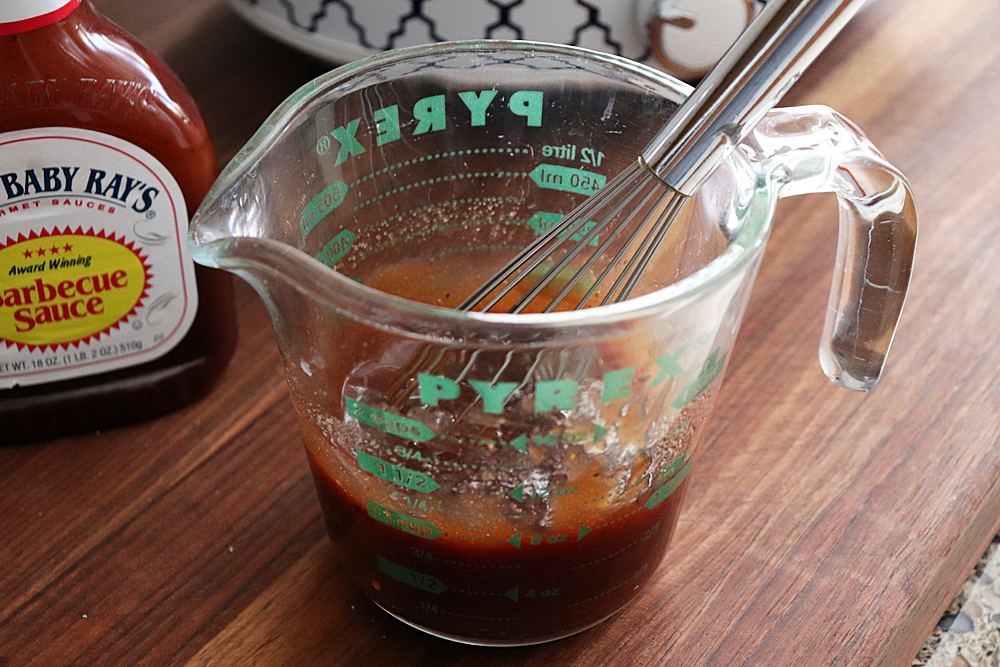 Whisked sauce for Sweet Baby Ray's Crock Pot Chicken