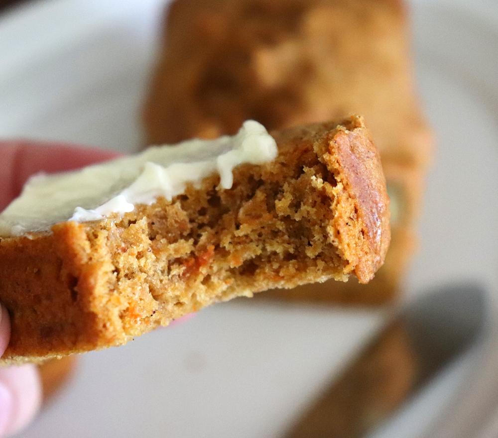 Bite shot of Sweet Potato Bread Recipe